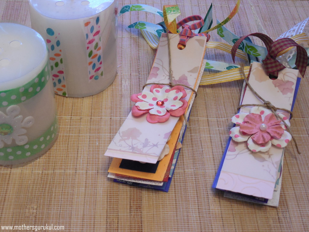 candle craft and handmade bookmarks