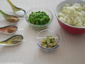 Aloo-matar kachori ingredients