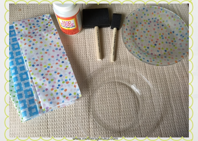 Mod Podge Craft , Let\u0027s Decoupage a glass plate with tissue